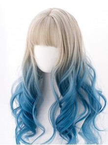 Silver Gradient Blue Classic Lolita Big Wave Long Curly Wigs