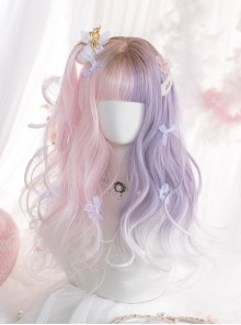 Pink Purple Gradient White Long Curly Wig Sweet Lolita Wigs