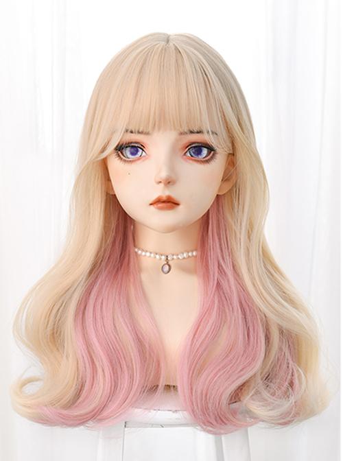 Light Golden Gradient Pink Long Curly Sweet Lolita Wigs