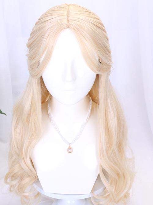 Golden Long Curly Wig Elegant Classic Lolita Wigs