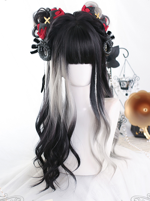 Black White Gradient Big Wave Long Curly Wig Classic Lolita Wigs