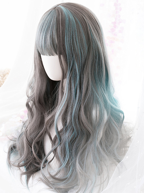 Gray Highlights Green Gradient Long Curly Classic Lolita Wigs