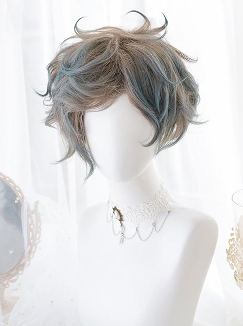 Flaxen Gradient Blue Sweet Lolita Short Curly Wigs