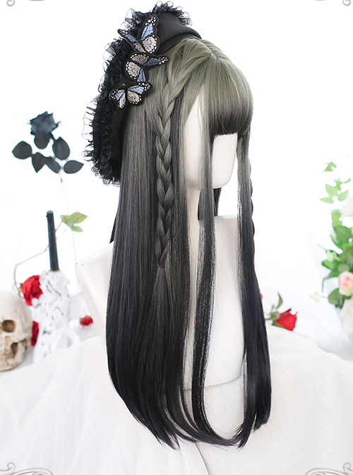 Gray Gradient Black Long Straight Wig Classic Lolita Wigs