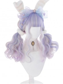 Pink Purple Gradient Silver Elegant Long Curly Sweet Lolita Wigs