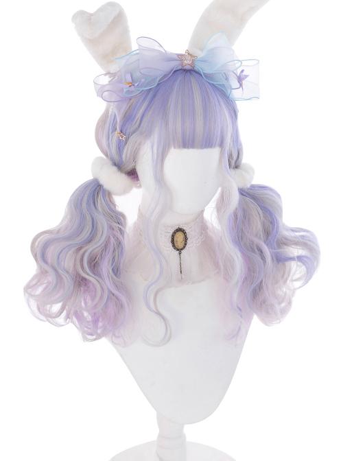Pink Purple Gradient Silver Elegant Long Curly Sweet Lolita Wigs