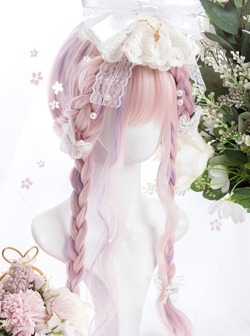 Pink Purple Gradient Sweet Lolita Long Curly Wigs