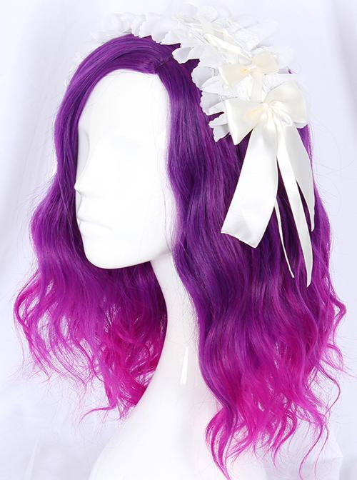 Purple Gradient Medium Length Curly Sweet Lolita Wigs