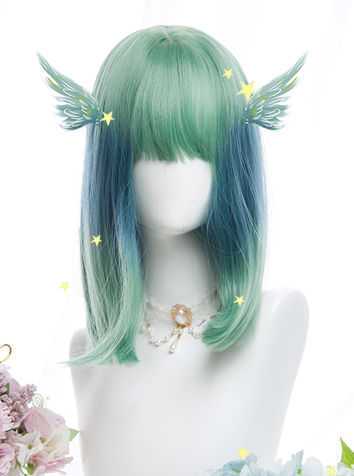 Cyan Blue Gradient Medium Length Straight Wig Sweet Lolita Wigs