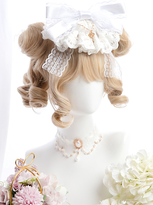 Linen Gold Short Curly Wig Sweet Lolita Wigs