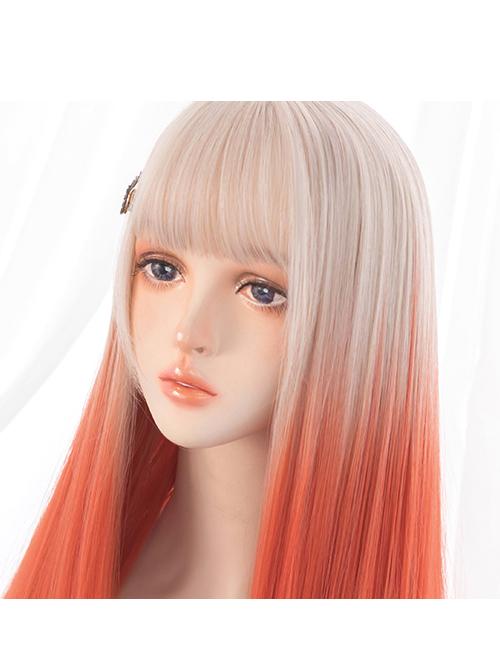 Beige-gold Gradient Orange Long Straight Wig Sweet Lolita Wigs