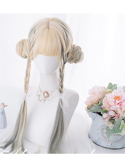 Beige Gradient Gray Long Curly Wig Classic Lolita Wigs
