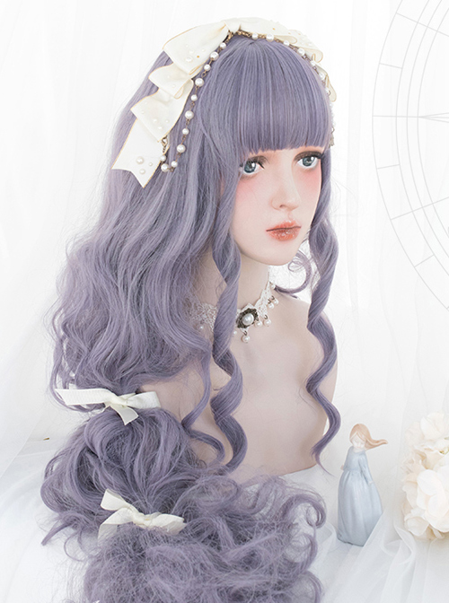 Astrological Witch Gray-purple Long Curly Wig Classic Lolita Wigs