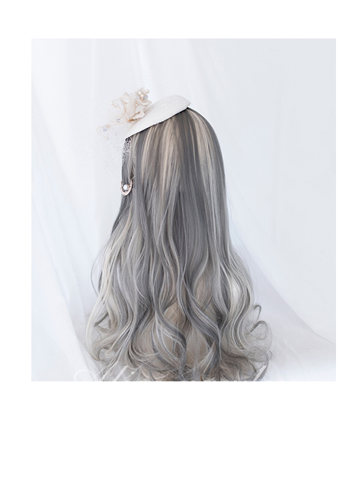 Gray Gradient Silver Curly Wig Sweet Lolita Wigs With Cat Ears Clips