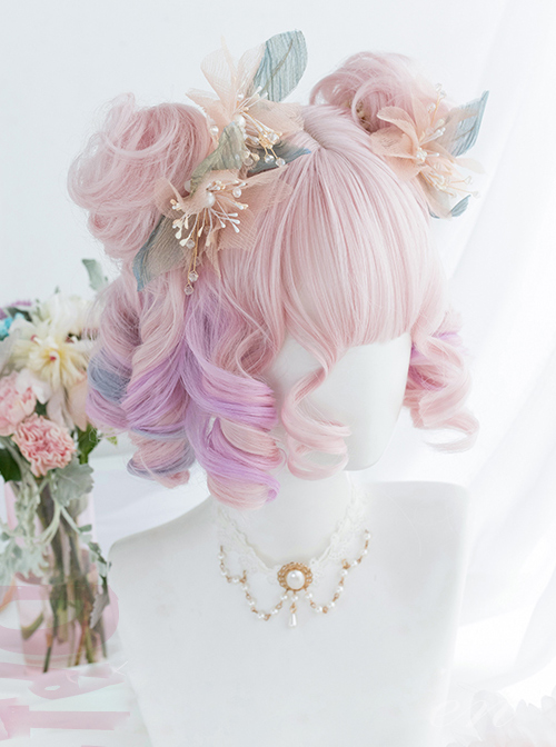 Candy Pink Gradient Short Curly Wig Sweet Lolita Wigs
