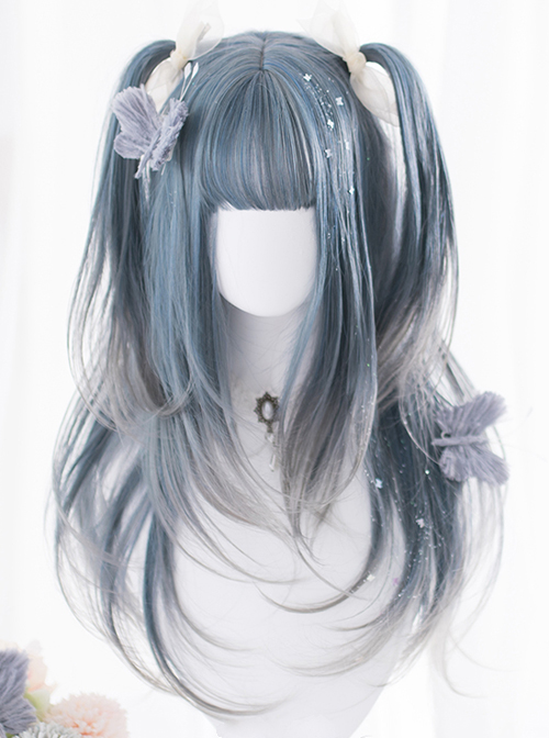 Blue Gradient Gray Long Curly Wig Classic Lolita Wigs