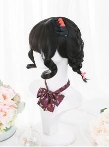 Cute Natural Black Short Curly Wig Classic Lolita Wigs