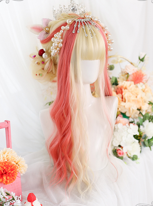 Golden Highlight Pink Long Curly Wig Classic Lolita Wigs