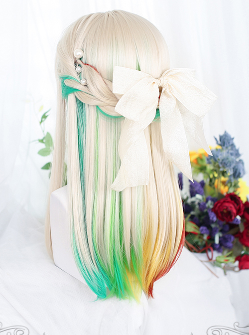 Golden Long Straight Wig Inner Layer Four Colors Sweet Lolita Wigs