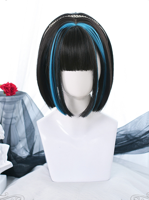 Natural Hair Band Style Dyed Short Straight Wig Gothic Lolita Wigs