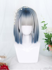 Gray Blue Natural Gradient Short Straight Wig Gothic Lolita Wigs