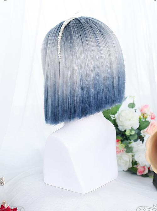 Gray Blue Natural Gradient Short Straight Wig Gothic Lolita Wigs