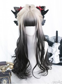 White Gradient Black Long Curly Wig Classic Lolita Wigs