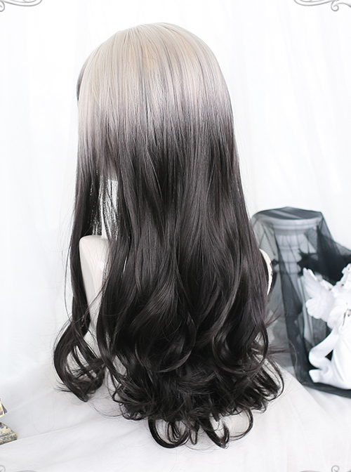 White Gradient Black Long Curly Wig Classic Lolita Wigs
