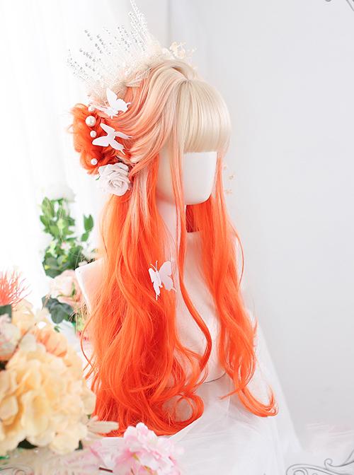 Orange Gradient Long Curly Wig Classic Lolita Wigs