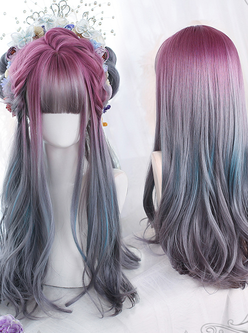 Purple Natural Gradient Gray Green Long Curly Wig Classic Lolita Wigs