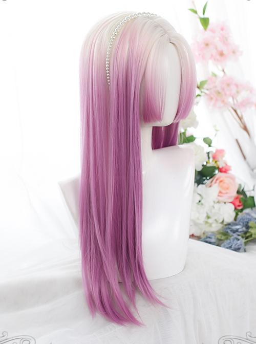 The Summer Love Series White Gradient Purple Classic Lolita Long Wigs