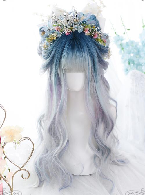 Dark Green Gradient Purple Gray Classic Lolita Long Wigs