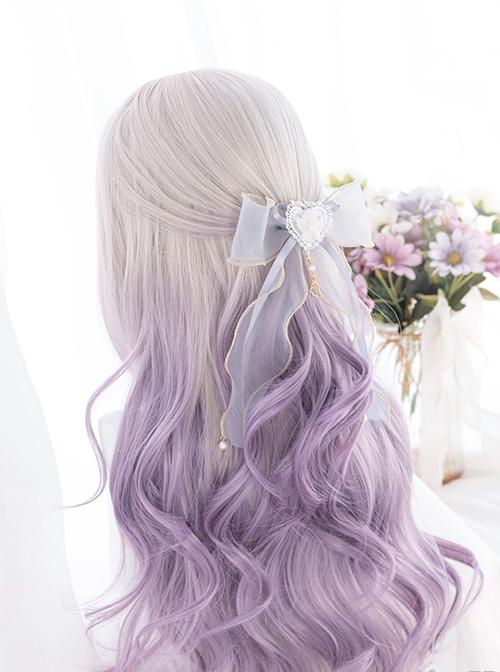 Gray Gradient Purple Classic Lolita Big Wave Long Curly Wigs