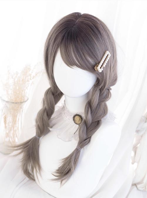Gray Oblique Bangs Medium Long Natural Straight Wig Classic Lolita Wigs