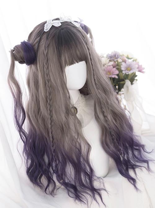 Dark Gray Gradient Dark Purple Long Curly Wig Sweet Lolita Wigs