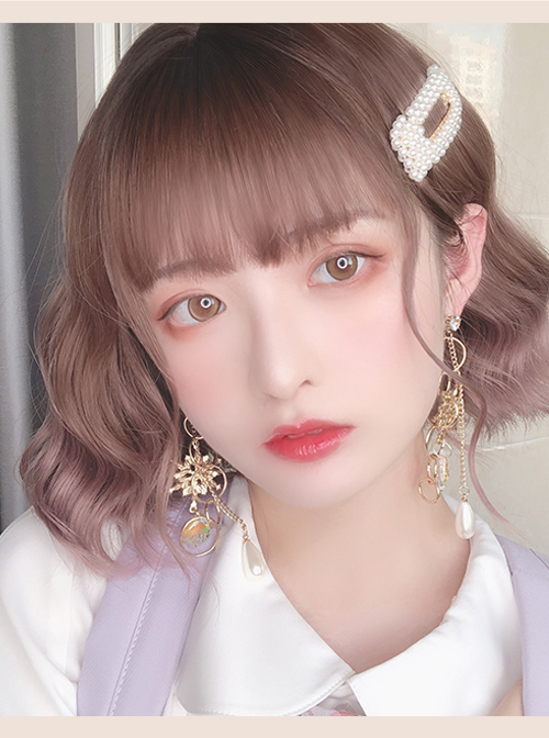 Natural Gradient Pink Brown Short Curly Wig Sweet Lolita Wigs