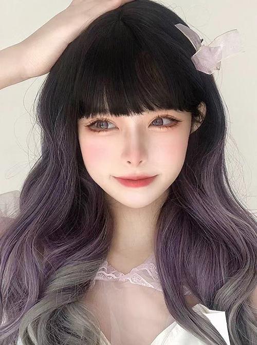 Black Natural Gradient Purple Gray Classic Lolita Long Curly Wigs