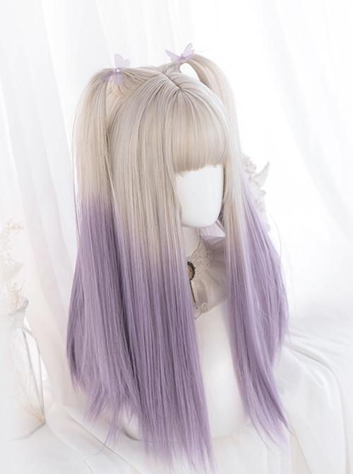 Moon Gray Gradient Purple Long Straight Wig Sweet Lolita Wigs