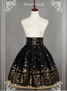 Black Swan Lake Gold Stamping high waist half skirt
