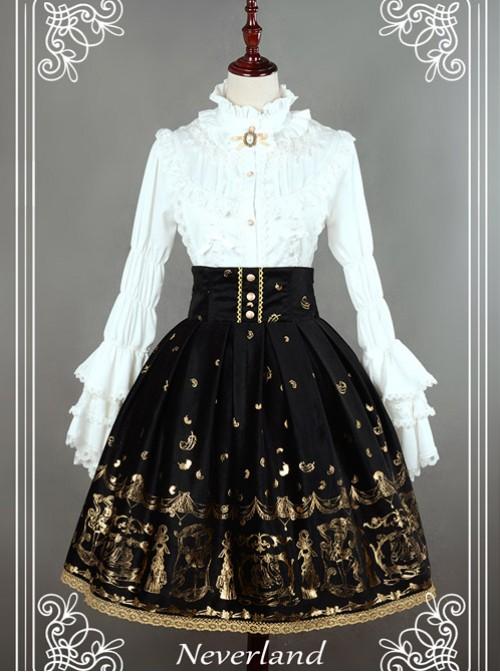 Black Swan Lake Gold Stamping high waist half skirt
