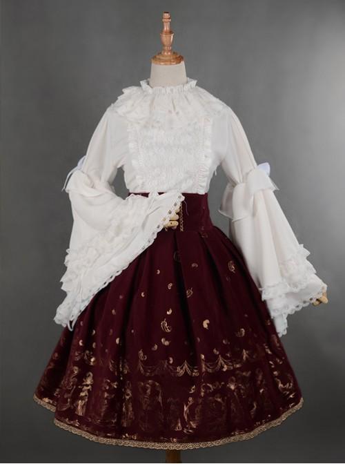 Wine Red Swan Lake Gold Stamping high waist half skirt