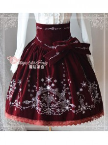 Winter Mass Embroidery Wine Red High Waist Classic Lolita Skirt