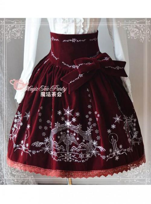 Winter Mass Embroidery Wine Red High Waist Classic Lolita Skirt