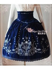 Winter Mass Embroidery Navy Blue High Waist Classic Lolita Skirt