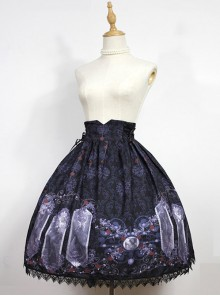 Nightmare Curse Double Binding Bands Black Lolita Skirt