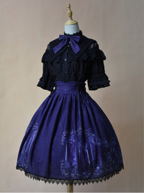 Nightmare Curse Double Binding Bands Blue Lolita Skirt