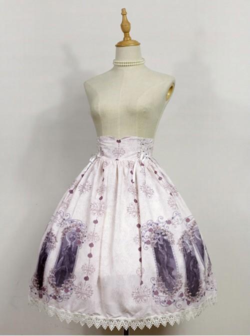 Nightmare Curse Double Binding Bands Ivory Lolita Skirt
