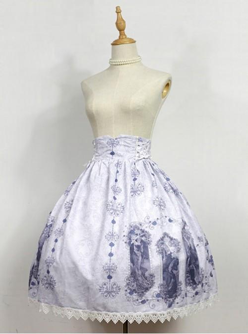 Nightmare Curse Double Binding Bands Gray Lolita Skirt