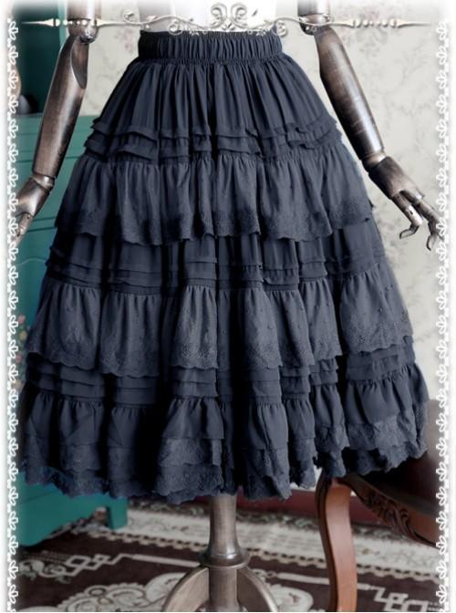 Black Elegant Multi Layer Chiffon Lolita Petticoat