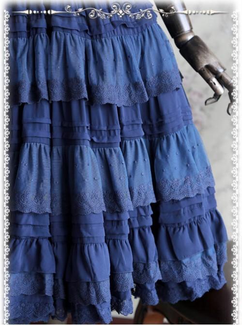 Peacock Blue Elegant Multi Layer Chiffon Lolita Petticoat